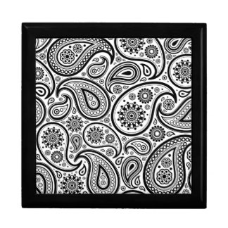 Black On White Paisley Pattern Design Jewelry Box