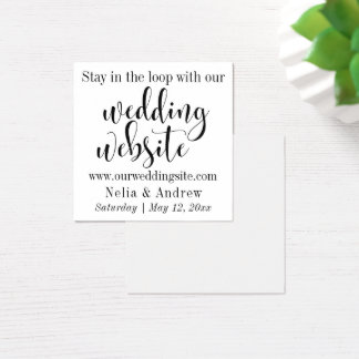 Black on White Pretty Typography Wedding Website Square Business Card