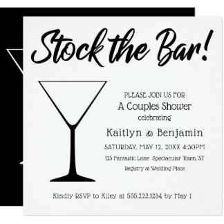 Black on White Script Stock the Bar Couples Shower Card
