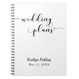 Black on White Script Typography Wedding Planner Notebook