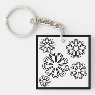 Black on White Spirals Keychain