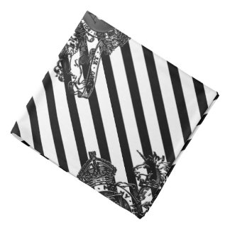 Black On White Tuxedo Lion Emblem Lapel Pocket Bandana