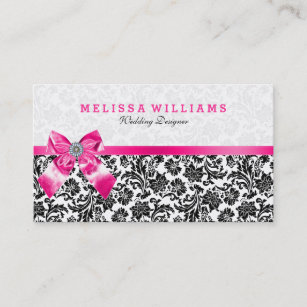 White bow business cards profile cards zazzle ca black on white vintage damasks with pink bow business card colourmoves