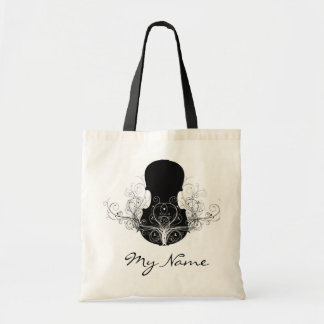 Black on White Violin Tote Bag