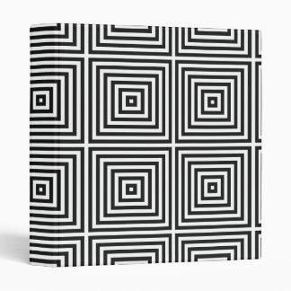Black Op Art Concentric Squares Vinyl Binders