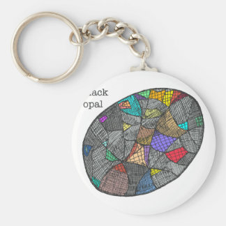 Black Opal Basic Round Button Keychain