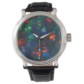 Black Opal Fire Red Green Designer Watch