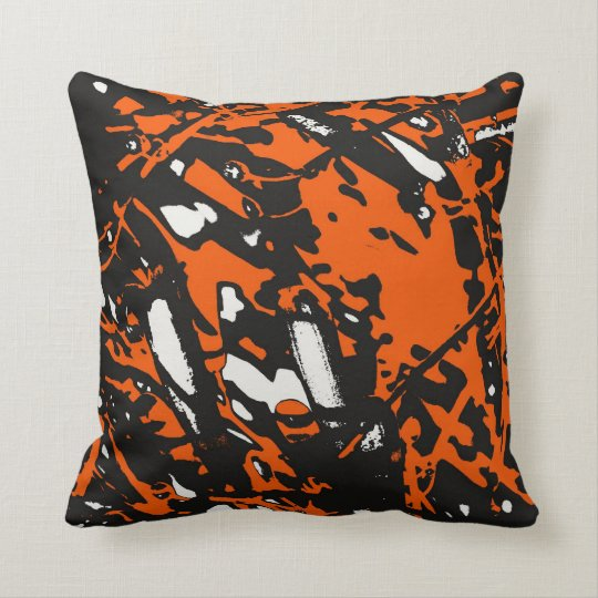 Black, Orange and White Abstract Throw Pillow