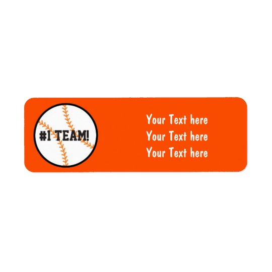 Black & Orange Baseball Team Party Address Labels