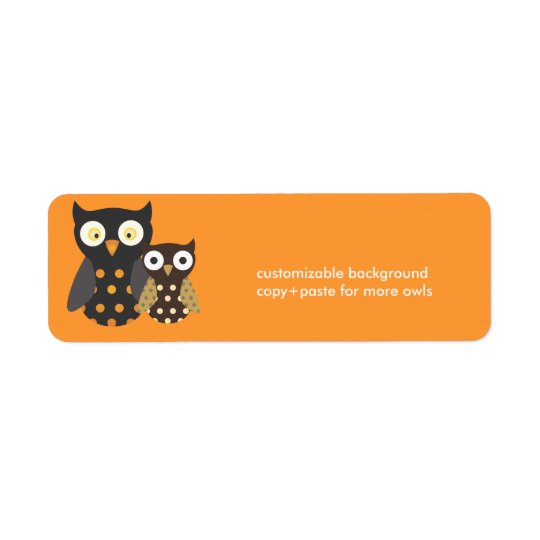 Black+Orange/Brown Owls, customizable background Return Address Label