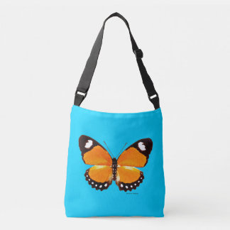 """""""Black & Orange Butterfly"""" Blue Cross Body Bag"""