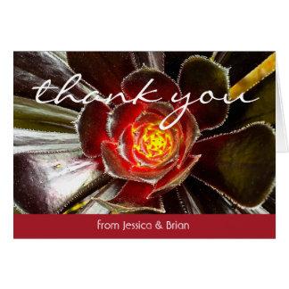Black orange cactus close-up photo thank you card