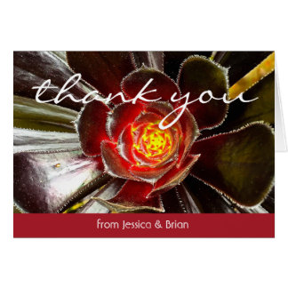 Black & orange cactus photo custom name thank you card