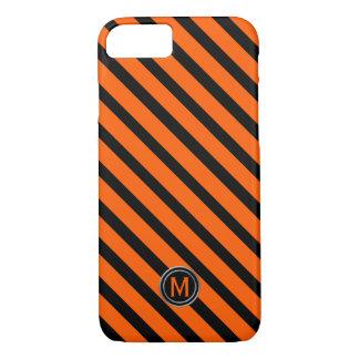 Black & Orange Diagonal Stripe Monogram iPhone 8/7 Case