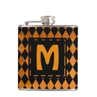 Black & Orange Diamond Monogram Hip Flask