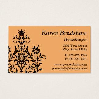 Black & Orange Floral Damask Business Card