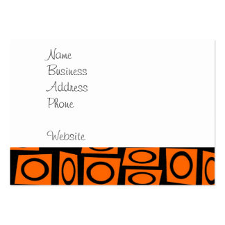 Black Orange Fun Circle Square Pattern Gifts Business Card Template