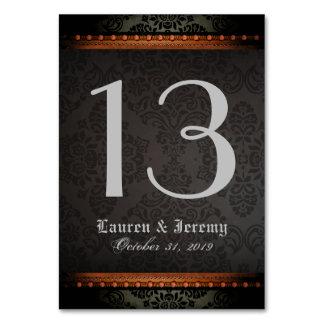 Black & Orange Gothic Matching Wedding Table Cards