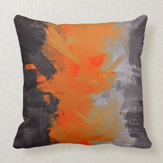 Black Orange Gray Abstract Painting Throw Pillow