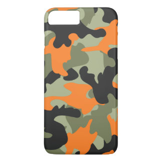 Black Orange Green Camo Camouflage Pattern Slim iPhone 8 Plus/7 Plus Case