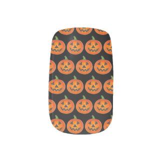 Black Orange Halloween Jack o Lantern Pumpkin Minx Nail Art