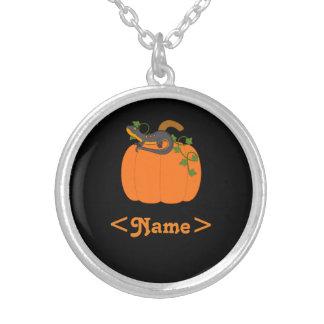 Black & Orange Newt on Halloween Pumpkin Round Pendant Necklace