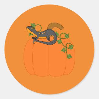 Black & Orange Newt on Halloween Pumpkin Round Sticker