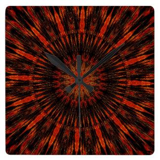 Black Orange Red Kaleidoscopic Design Clock