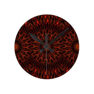 Black Orange Red Kaleidoscopic Design Wallclock
