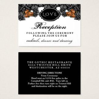 Black Orange Rose LOVE Halloween Wedding Reception Business Card