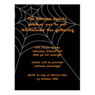 Black orange spider web Halloween invitation card