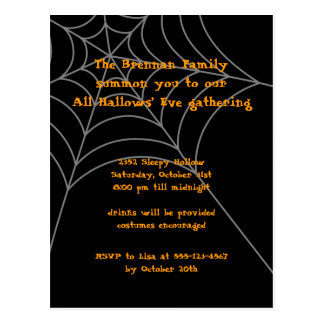Black orange spider web Halloween invitation card Postcard