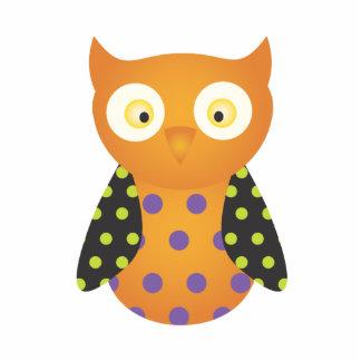 Black / Orange Spotted Owl Standing Photo Sculpture