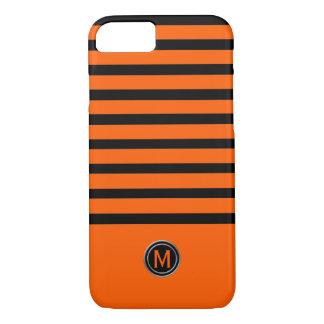Black & Orange Stripe Monogram iPhone 8/7 Case