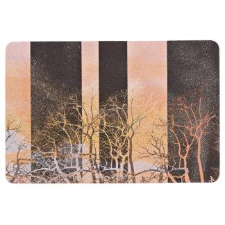 Black orange stripe trees branches digital art floor mat