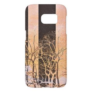Black orange stripe trees branches digital art samsung galaxy s7 case