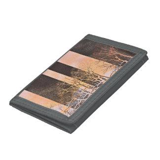 Black orange stripe trees branches digital art trifold wallet