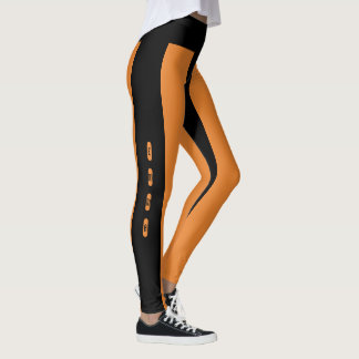 Black Orange Stripes Pattern Custom Name Emma Leggings