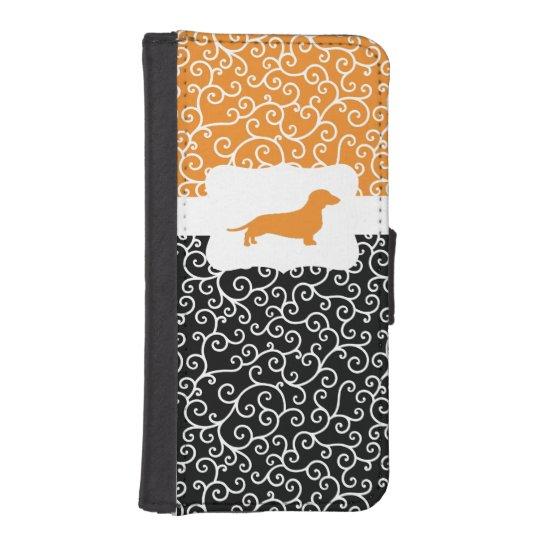 Black & Orange Swirls w/Dachshund iPhone 5 Wallets