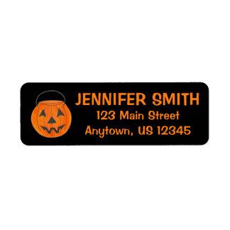 Black Orange Trick or Treat Pumpkin Halloween Return Address Label