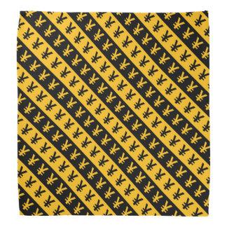 Black & Orange Yen Signs (¥) Striped Pattern Bandana