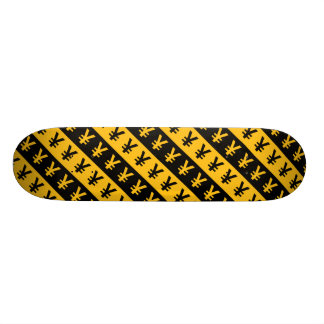 Black & Orange Yen Signs (¥) Striped Pattern Custom Skate Board