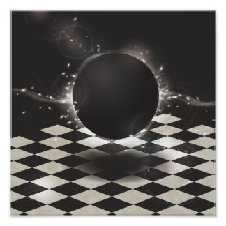 Black Orb on Checkered Background Poster