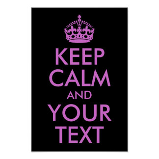 Black Orchid Keep Calm and Your Text Poster