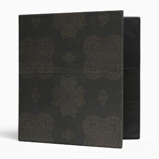 Black Ornamental Pattern 3 Ring Binders