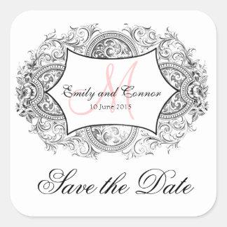 Black Ornate Frame Pink Monogram Save the Date Square Sticker