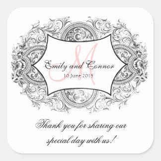 Black Ornate Frame Pink Monogram Wedding Thank You Square Sticker