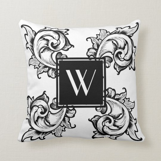 Black Ornate Greek Leaves - Personalized Throw Pillow
