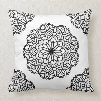 Black Ornate Mandala On White Background Throw Pillow