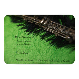 Black Ostrich Feather and Clarinet RSVP Cards